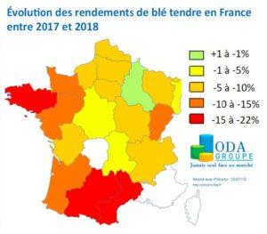Evolution des rendements de blé tendre en France entre 2017 et 2018 - Crédit ODA